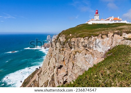 Cabo da Roca cape - the most Western point of Europe, Portugal - stock photo