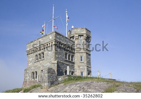 Cabot Tower is a focal point overlooking the city of St. John's, Newfoundland.  It was built on Signal Hill in 1897 to commemorate the 400th anniversary of the discovery of Newfoundland by John Cabot. - stock photo