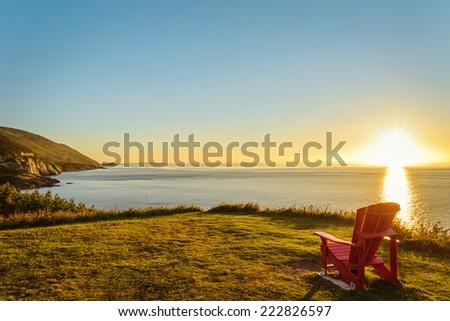 Cabot Trail at sunset (Cape Breton, Nova Scotia, Canada) - stock photo