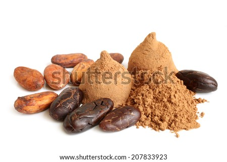 Cacao beans, cacao powder and chocolate sweets on white background - stock photo