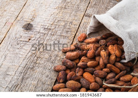 cacao beans on wooden bacground - stock photo