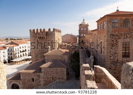 Caceres monumental. Bujaco Tower, Toledo-Moctezuma's palace, the Episcopal Palace and the Plaza Mayor views from the Tower of the Pulpits. Spain. - stock photo