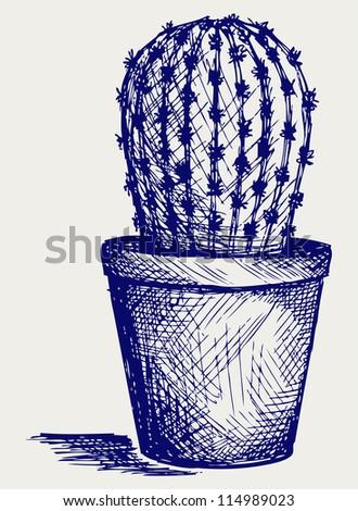 Cactus in desert. Doodle style. Raster version - stock photo