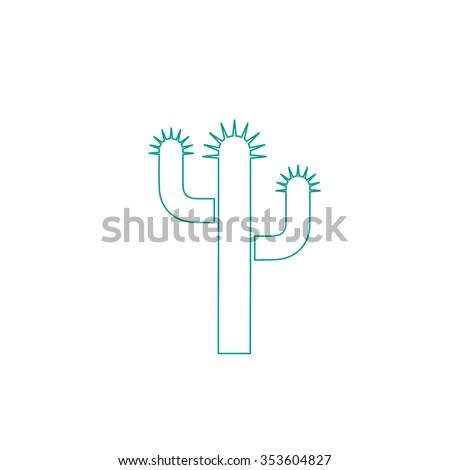 Cactus. Outline symbol on white background. Simple line icon - stock photo