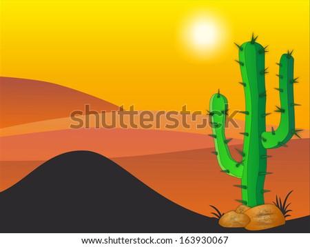 Cactus plants in desert - Stock Illustration - stock photo