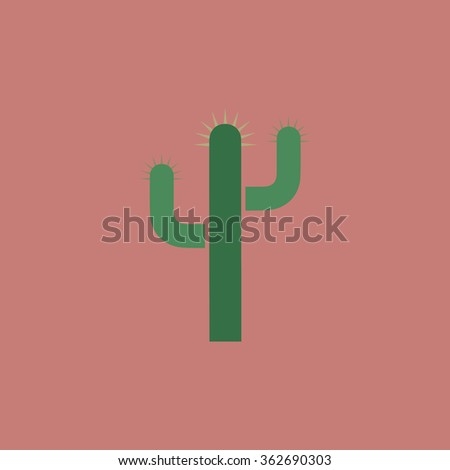 Cactus. Simple flat color icon on colorful background - stock photo