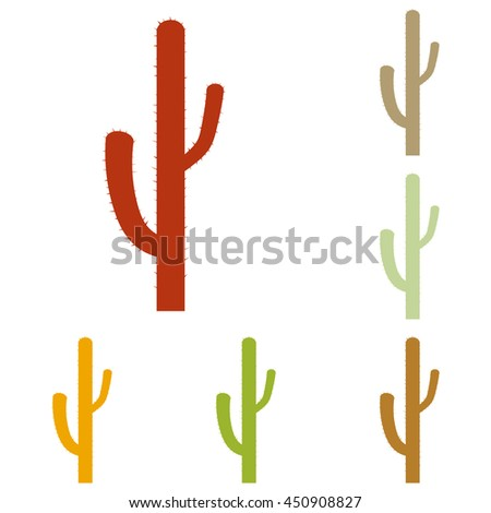 Cactus simple sign. Colorful autumn set of icons. - stock photo