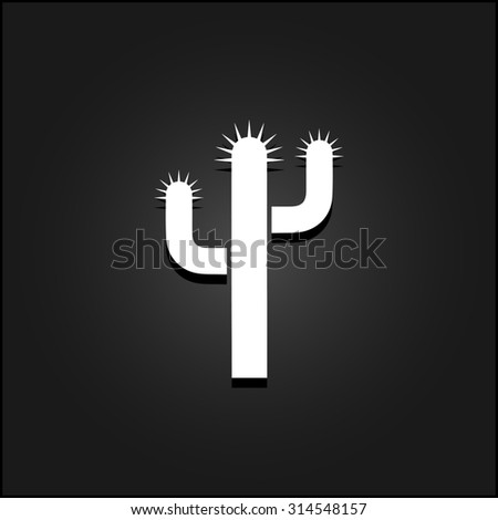 Cactus. White flat simple icon illustration with shadow on a black background. Symbol for web and mobile applications for use as logo, pictogram, icon, infographic element - stock photo