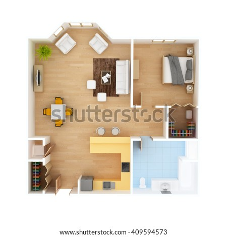 CAD Floor plan top view. 1 Bedroom 1 Bath colorful apartment interior isolated on white background. May be used for a graphic art, design or architectural illustration. - stock photo