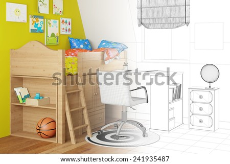 CAD sketch of nursery in planning with wireframe and render part (3D Rendering) - stock photo