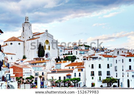 cadaqes, costa brava, spain: cathedral and old town - stock photo