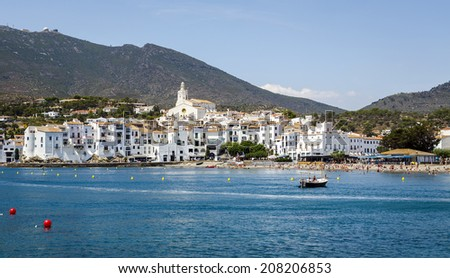 Cadaques village on the Mediterranean seaside, Costa Brava, Catalonia, Spain - stock photo