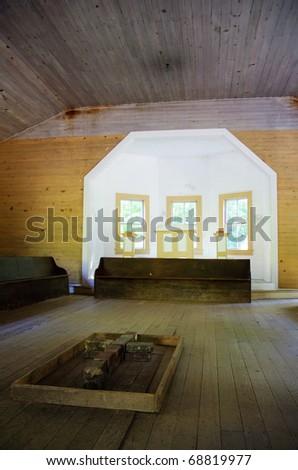 Cades Cove church interior - stock photo
