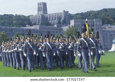 Cadets Marching in Formation, West Point Military Academy, West Point, New York - stock photo