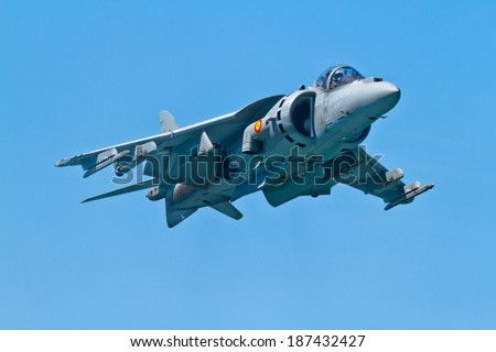 CADIZ, SPAIN-SEP 11: Aircraft AV-8B Harrier Plus taking part in an exhibition on the 4th airshow of Cadiz on Sep 11, 2011, in Cadiz, Spain - stock photo