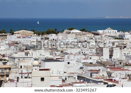 Cadiz, Spain, view from torre Tavira on a sunny day - stock photo