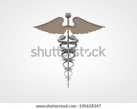 caduceus isolated on white background - stock photo