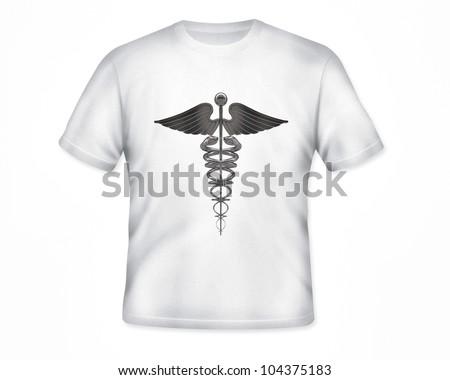 caduceus on white t-shirt isolated on white background - stock photo