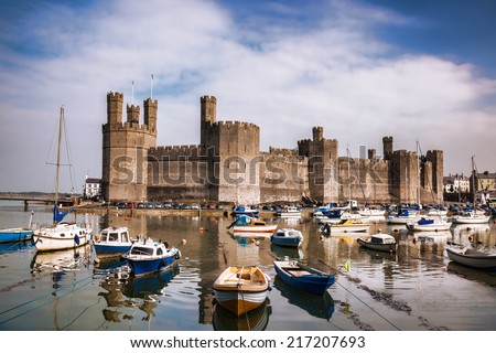Caernarfon Castle in Wales, United Kingdom, series of Walesh castles - stock photo