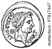 """Caesar Head with the sign of a dictator, denarius of Julius Caesar, 44 BC - an illustration to articke """"Coins"""" of the encyclopedia publishers Education, St. Petersburg, Russian Empire, 1896 - stock photo"""
