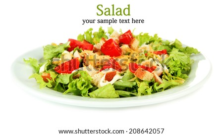 Caesar salad on plate, isolated on white - stock photo