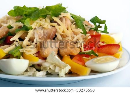 Caesar salad on white - stock photo