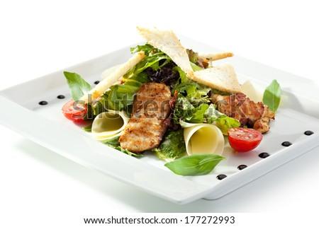 Caesar Salad with BBQ Chicken Fillet - stock photo