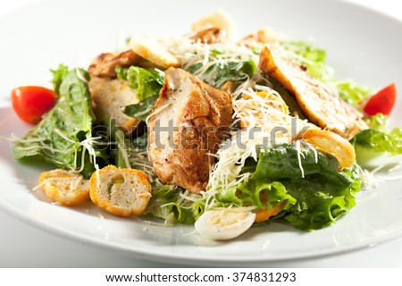 Caesar Salad with Chicken - stock photo