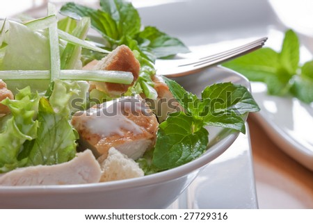 caesar salad with chicken and lettuce on white bowl - stock photo