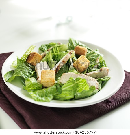 Caesar salad with grilled chicken - stock photo