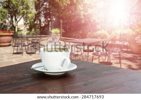 cafe and cup of coffee  - stock photo