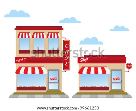 cafe and shop store fronts - stock photo