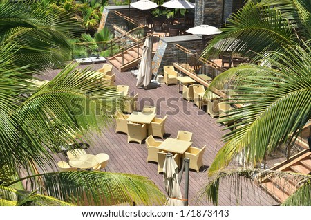 Cafe bar in the tropical garden - stock photo