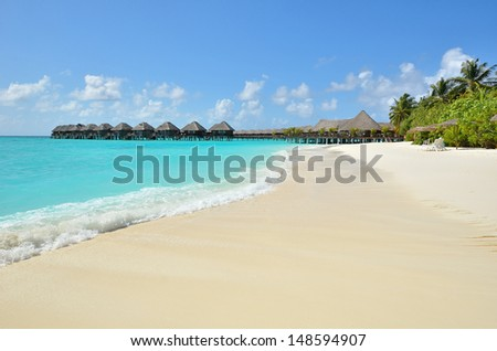 Cafe bar on the tropical beach -- Vacation Concept - stock photo