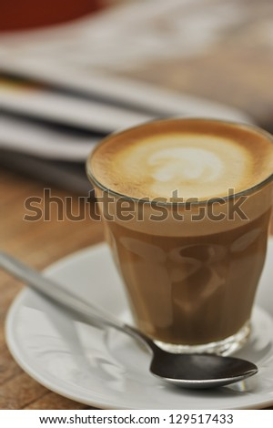 cafe latte in a glass, shallow depth of field - stock photo