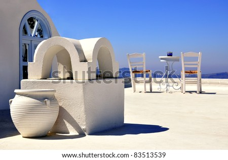 Cafe on the roof - stock photo