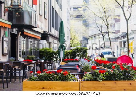 Cafe on the street of the European city - stock photo