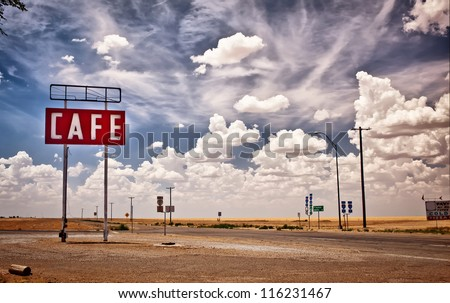 Cafe sign along historic Route 66 in Texas. - stock photo
