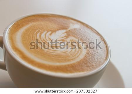 caffe latte with foam milk - stock photo