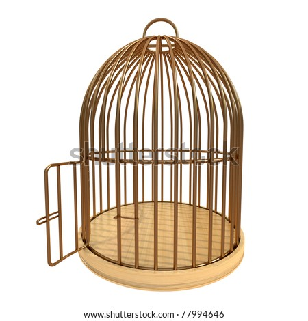 Open Bird Cage Clipart Cage with open door - stock