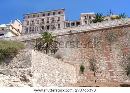 Cagliari. Ancient medieval city walls. Sardinia (Italy) - stock photo
