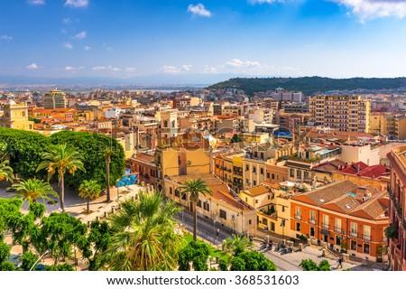 Cagliari, Sardinia, Italy cityscape. - stock photo