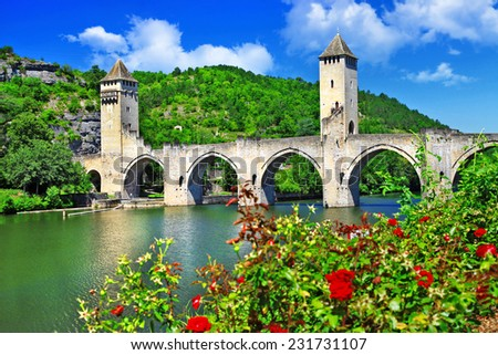 Cahors Valentre bridge,  UNESCO site the Pilgrim's Road to Santi - stock photo