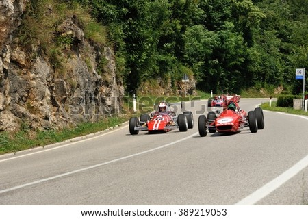CAINO (BS), ITALY - JUNE 27: A Fagioli Formula 850 follwed by a MRE Formula Ford and other race cars takes part to the Nave Caino Sant'Eusebio on June 27, 2015 in Caino. The car was built in 1968. - stock photo
