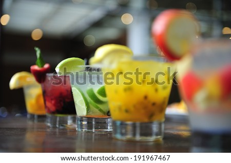 Caipirinha, Brazil's national cocktail made with Cachaca, sugar cane hard liquor, Sao Paulo, Brazil - stock photo
