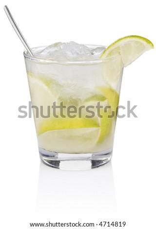 Caipiroska Cocktail - isolated on white - stock photo