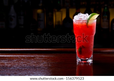 caipiroska strawberry cocktail on the bar - stock photo