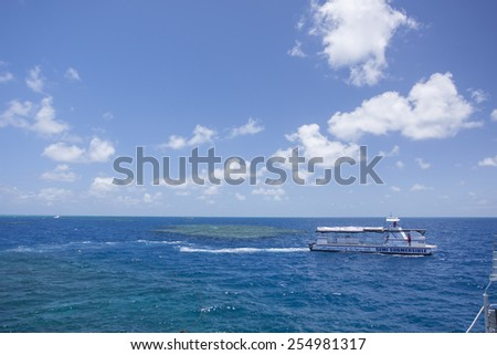 CAIRNS, AUSTRALIA - NOV 17: The floating platform for different water activities in Great Barrier Reef in Cairns, Australia on November 17 2011. - stock photo