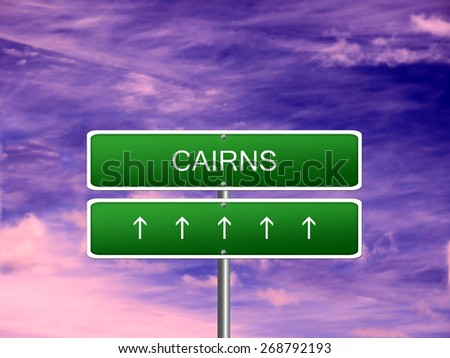 Cairns city Australia skyline tourism welcome icon sign. - stock photo