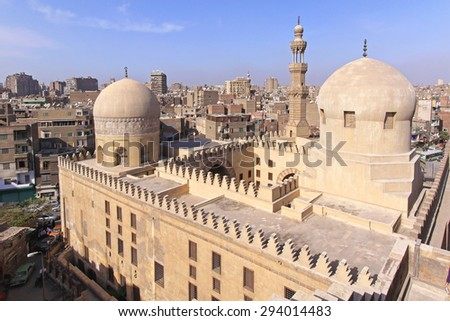 CAIRO, EGYPT - MARCH 02: Madrasa Of Sarghatmish in Cairo on MARCH 02, 2010. Overview of Historic Islamic School Madrasah of the Amir Sarghatmish in Cairo, Egypt. - stock photo